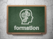 Education concept: Head With Gears and Formation on chalkboard background — Stockfoto