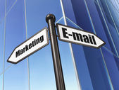 Advertising concept: sign E-mail Marketing on Building background — Stock Photo