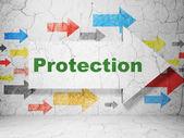 Concetto di privacy: protezione di whis freccia su sfondo muro grunge — Foto Stock