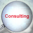 Business concept: Consulting with optical glass — Stock Photo