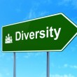Finance concept: Diversity and Business Team on road sign background — Stock Photo #35230987