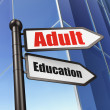 Education concept: sign Adult Education on Building background — Stock Photo #35231303
