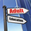 Education concept: sign Adult Education on Building background — Stock Photo