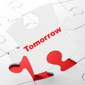 Time concept: Tomorrow on puzzle background — Stock Photo