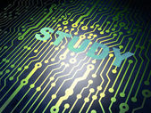 Education concept: circuit board with Study — Stockfoto