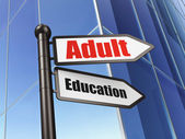 Education concept: sign Adult Education on Building background — Photo