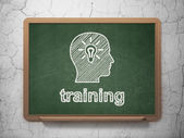 Education concept: Head With Light Bulb and Training on chalkboard background — 图库照片