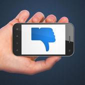Sosyal ağ kavramı: aksine smartphone cep telefonu ile — Stok fotoğraf
