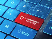 Safety concept: Contoured Shield and Information Security on computer keyboard background — Stock Photo