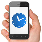 Timeline concept: Clock on smartphone — Stock Photo