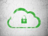 Cloud networking concept: Cloud With Padlock on wall background — Stockfoto