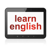 Education concept: Learn English on tablet pc computer — Stock Photo