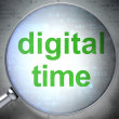 Stock Photo: Timeline concept: Digital Time with optical glass