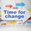 Timeline concept: arrow whis Time for Change on grunge wall background — Stock Photo #35425157