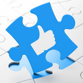 Social media concept: Like on puzzle background — Stock Photo
