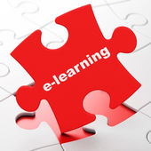 Education concept: E-learning on puzzle background — Stockfoto