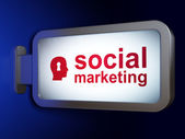 Marketing concept: Social Marketing and Head With Keyhole on billboard background — Stock Photo