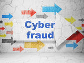 Protection concept: arrow whis Cyber Fraud on grunge wall background — Stockfoto
