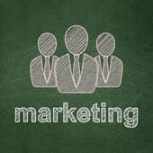 Marketing concept: Business People and Marketing on chalkboard background — Stock Photo