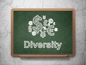 Finance concept: Finance Symbol and Diversity on chalkboard background — Foto de Stock