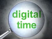 Timeline concept: Digital Time with optical glass — Stock Photo