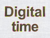 Time concept: Digital Time on fabric texture background — Stock Photo