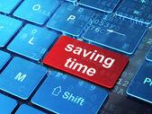 Timeline concept: Saving Time on computer keyboard background — Zdjęcie stockowe