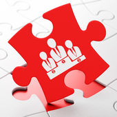 Advertising concept: Business Team on puzzle background — Stockfoto