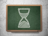 Time concept: Hourglass on chalkboard background — Stock Photo