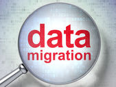 Data concept: Data Migration with optical glass — Stock Photo