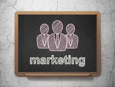 Advertising concept: Business People and Marketing on chalkboard background — ストック写真