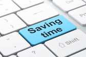 Time concept: Saving Time on computer keyboard background — Stock Photo