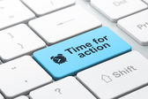 Time concept: Alarm Clock and Time for Action on computer keyboard background — Stock Photo
