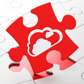 Cloud computing concept: Cloud on puzzle background — Stock Photo