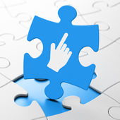 Social network concept: Mouse Cursor on puzzle background — Stock Photo