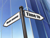 Time concept: sign Time to Make money on Building background — Stock Photo
