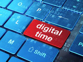Time concept: Digital Time on computer keyboard background — Stock Photo