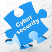 Privacy concept: Cyber Security on puzzle background — Stock Photo