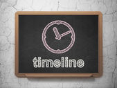 Time concept: Clock and Timeline on chalkboard background — Stock Photo