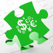 Marketing concept: Finance Symbol on puzzle background — Stock Photo