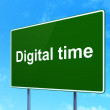Time concept: Digital Time on road sign background — Stock Photo