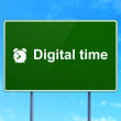 Time concept: Digital Time and Alarm Clock on road sign background — Stock Photo