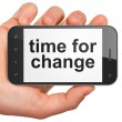 Time concept: Time for Change on smartphone — Stok fotoğraf