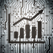 News concept: circuit board with Growth Graph — ストック写真