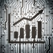 News concept: circuit board with Growth Graph — Stock Photo