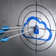 Cloud technology concept: arrows in Cloud With Padlock target on wall background — Stock Photo