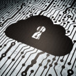 Cloud networking concept: circuit board with Cloud With Keyhole — Stock Photo