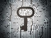 Concepto de la protección: placa de circuito con llave — Foto de Stock