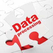 Information concept: Data Processing on puzzle background — ストック写真