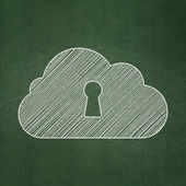 Cloud technology concept: Cloud With Keyhole on chalkboard background — Stock Photo